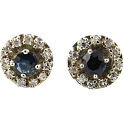 Vintage 14K White Gold Diamond and Sapphire Earrings