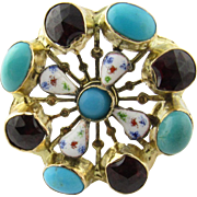Vintage 14 Karat Yellow Gold Turquoise, Garnet and Enamel Brooch