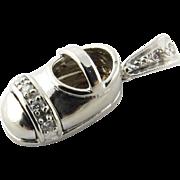 Vintage 14K Yellow Gold Diamond Baby Shoe Charm with diamonds