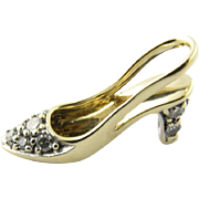 Vintage 14K Yellow Gold High Heel Shoe Charm Pendant with diamonds