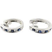 Vintage 18 Karat White Gold Diamond and Sapphire Huggie Earrings