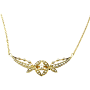 Antique 18 Karat Yellow Gold and Seed Pearl Necklace