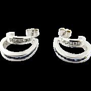Vintage 14 Karat White Gold Diamond and Sapphire Earrings