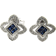 Vintage 18 Karat White Gold Sapphire and Diamond Earrings