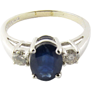 Vintage 14K White Gold Sapphire and Diamond Ring, Size 8 1/2