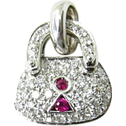 Vintage 18K White Gold Diamond and Ruby Purse Charm