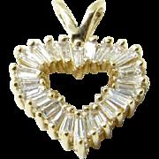 Vintage 14K Yellow Gold Diamond Heart Pendant