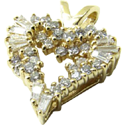 Vintage 14K Yellow Gold Diamond Heart Pendant