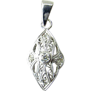 Antique 14K White Gold Diamond Pendant