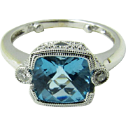 Vintage 14K White Gold Blue Topaz and Diamond Ring, Size 4