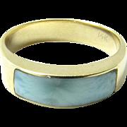 Vintage 14K Yellow Gold Polished Blue Stone Ring, Size 7 1/4