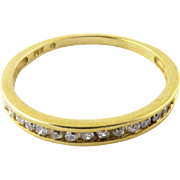 Vintage 10K Yellow Gold Diamond Wedding Band, Size 8