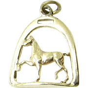 Vintage 10K Yellow Gold Horse and Horseshoe Stirrup Charm