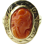 Vintage 14K Yellow Gold Coral Cameo Ring, Size 5