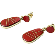 Vintage 14K Yellow Gold Red Coral Inlay Drop Earrings