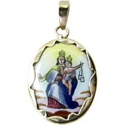Vintage 10K Yellow Gold Enamel Blessed Virgin of Mount Carmel