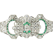 Vintage Platinum Diamond and Emerald Brooch Pendant 4 carats