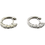 Vintage 18 Karat White Gold Diamond Hoop Earrings