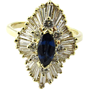 Vintage 14 Karat Yellow Gold Sapphire and Diamond Ring Size 7.75