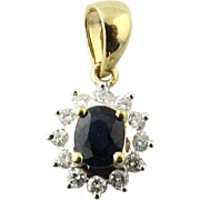 Vintage 14 Karat Yellow Gold Sapphire and Diamond Pendant