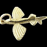 Vintage 14 Karat Yellow Gold Flying Fish Charm