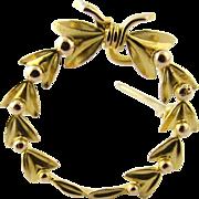 Vintage 14 Karat Yellow Gold Circle Wreath Pin