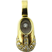 Vintage 18 Karat Yellow Gold and Diamond Baby Shoe Charm