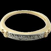 Vintage 18 Karat Yellow Gold and 14 Karat White Gold and Diamond Ring Size 5