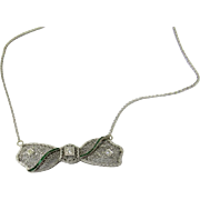Vintage 14K White Gold Necklace with Platinum Diamond and Emerald Bow Pendant