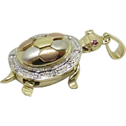 Vintage 14K Tri-Color Gold Movable Turtle Charm with Ruby Eyes