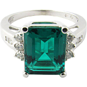 Vintage 14 Karat White Gold Synthetic Emerald and Diamond Ring Size 6.75