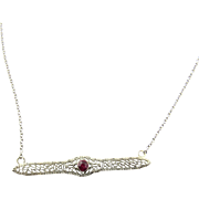 Vintage 14 Karat White Gold Ruby Necklace