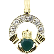 Vintage 9 Karat Yellow Gold And Green Onyx Claddagh Pendant