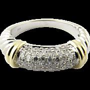 Vintage 14 Karat White and Yellow Gold Diamond Ring Size 7