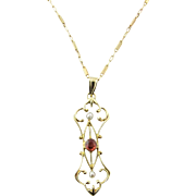 Vintage 14 Karat Yellow Gold and Rhodolite Garnet Pendant