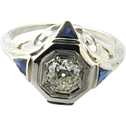 Vintage 18 Karat White Gold Diamond and Sapphire Engagement Ring Size 6