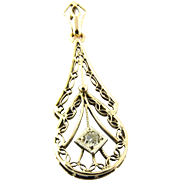 Vintage 10K Yellow Gold and Old Mine Diamond Filigree Pendant