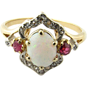 Antique 14 Karat Yellow Gold Opal, Ruby and Diamond Ring Size 7