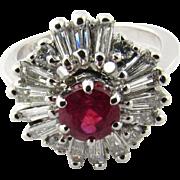 Vintage 14 Karat White Gold Ruby and Diamond Ring Size 4