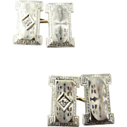 Vintage 14 Karat White Gold and Diamond Cufflinks