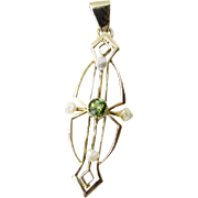 Vintage 10 Karat Yellow Gold Peridot and Pearl Pendant