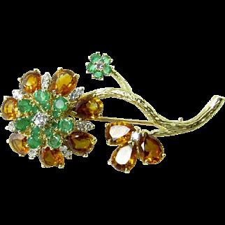 Vintage 14 Karat Yellow Gold Floral Gemstone Brooch