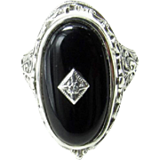 Vintage Sterling Silver Reversible Cameo and Black Onyx Flip Ring Size 7.5