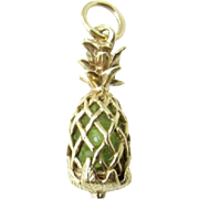 Vintage 14 Karat Yellow Gold and Citrine Pineapple Charm