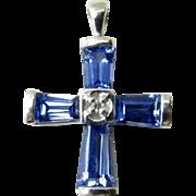 Vintage 10 Karat White Gold Blue Topaz and Diamond Cross Pendant
