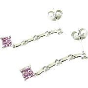Vintage 18 Karat White Gold Pink Sapphire and Diamond Drop Earrings