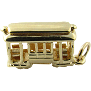 Vintage 14K Yellow Gold Trolley Cable Car Charm