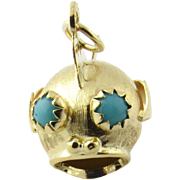 Vintage 18K Yellow Gold Fish Charm with Turquoise Eyes