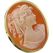 Vintage 18K Yellow Gold Cameo Pendant/Brooch