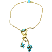 Vintage 18K Yellow Gold Turquoise and Diamond Necklace